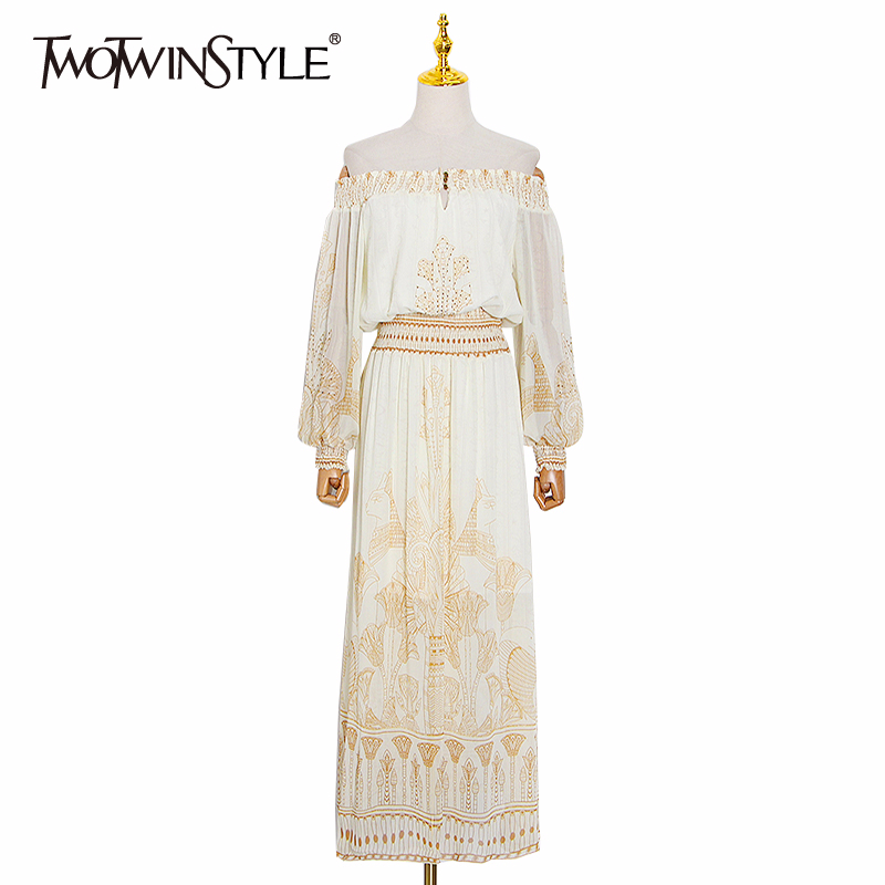 TWOTWINSTYLE Elegant Print Summer Dress Women Slash Neck Lantern Long Sleeve High Waist Hit Color Dresses For Female Fashion New