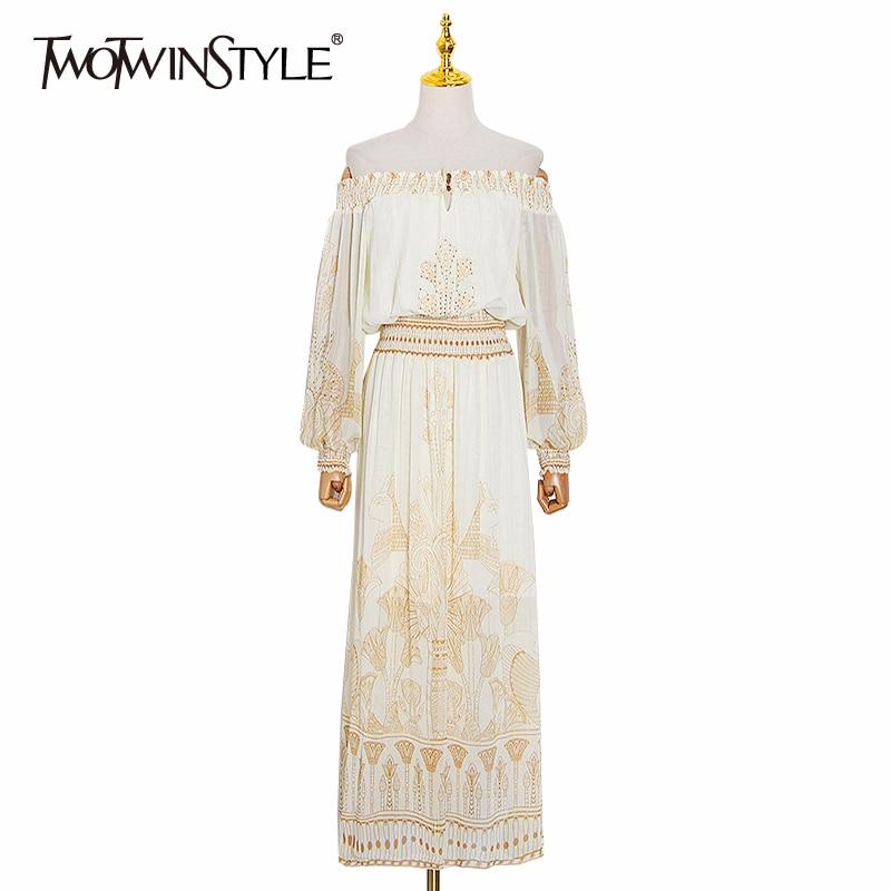 TWOTWINSTYLE Elegant Print Summer Dress Women Slash Neck Lantern Long Sleeve High Waist Hit Color Dresses For Female Fashion New