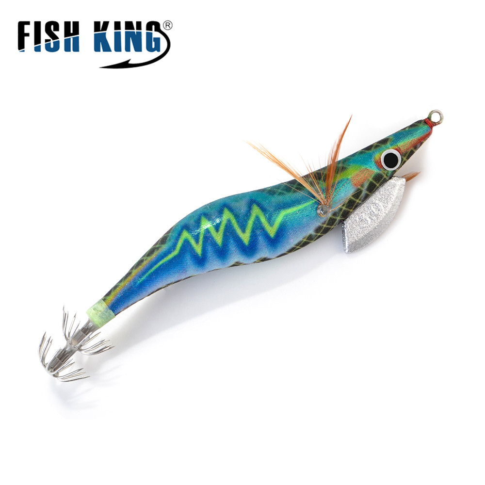 FISH KING 8/11.5/14/19.5g Hard Bait Luminous Squid Jig Sea Fishing Lure 2.0/2.5/3.0/3.5# Shrimp Cuttlefish Squid Hook Rig