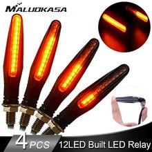 4 adet LED dönüş sinyali aydınlatmaları motosiklet 12 * 335SMD kuyruk flaşör akan su flaşör bükülebilir motosiklet yanıp sönen ışıklar