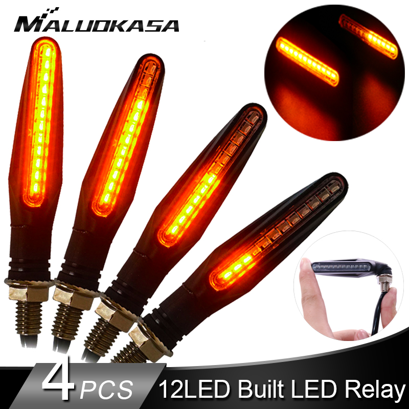 4PCS LED Turn Signal Lightings for Motorcycle 12 335SMD Tail Flasher Flowing Water Blinker Bendable Motorcycle Flashing Lights