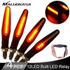 4PCS LED Turn Signal Lightings for Motorcycle 12*335SMD Tail Flasher Flowing Water Blinker Bendable Motorcycle Flashing Lights