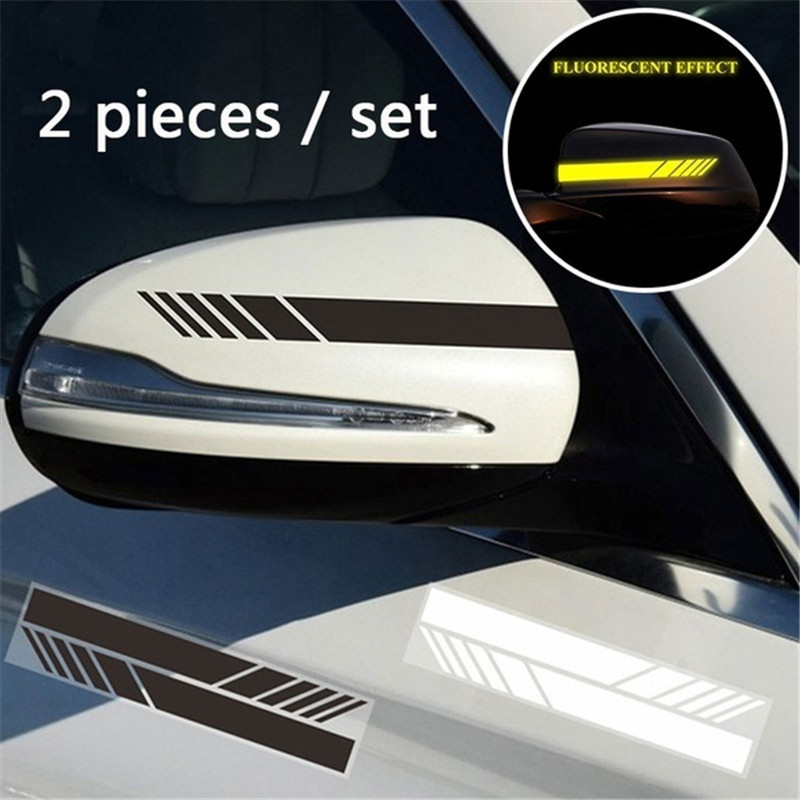 2pcs Decal Reflective Door Vehicle Car Adhesive Rearview Mirror Decoration