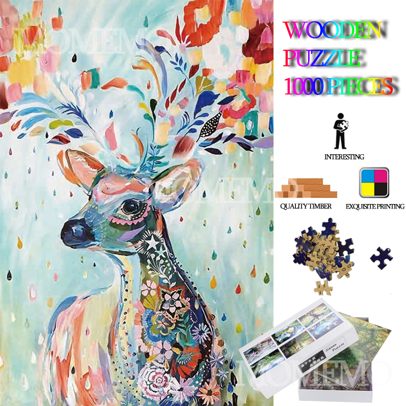 Color Deer Wooden Jigsaw Puzzle 1000 Pieces Adults Puzzle Animal Painting Puzzles Toys Wooden 1000 Pieces Puzzle Games For Kids
