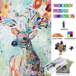 Color Deer Wooden Jigsaw Puzzl