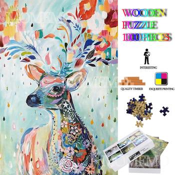 Kolorowy jeleń drewniane Puzzle jigsaw 1000 sztuk dorosłych Puzzle zwierząt malowanie Puzzle zabawki drewniane 1000 sztuk Puzzle gry dla dzieci tanie i dobre opinie MOMEMO DON T EAT Unisex JMX12 COMMON cartoon 8-11 lat 12-15 lat STARSZE DZIECI 6 lat 8 lat Drewna Plane puzzle wooden puzzle 1000 pieces