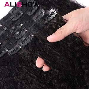 Image 3 - Alishow Hair Kinky Striaght Clip In Human Hair Extension 120g Brazilian Natural Hair in Clips Full Head Remy Hair Natural Color