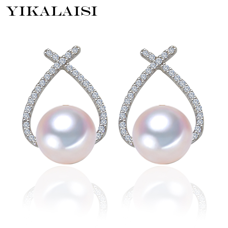 YIKALAISI 925 Sterling Silver Natural Freshwater Pearl Fashion Stud Earrings Jewelry For Women 7-8mm Pearl 5 Colour AAA Zircon