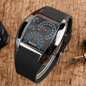 цена на Unique Digital LED Backlight Military Luminous Men Wrist Watch Sports Pilot Speedometer Dot Matrix Boys Rubber Band Reloj Hombre