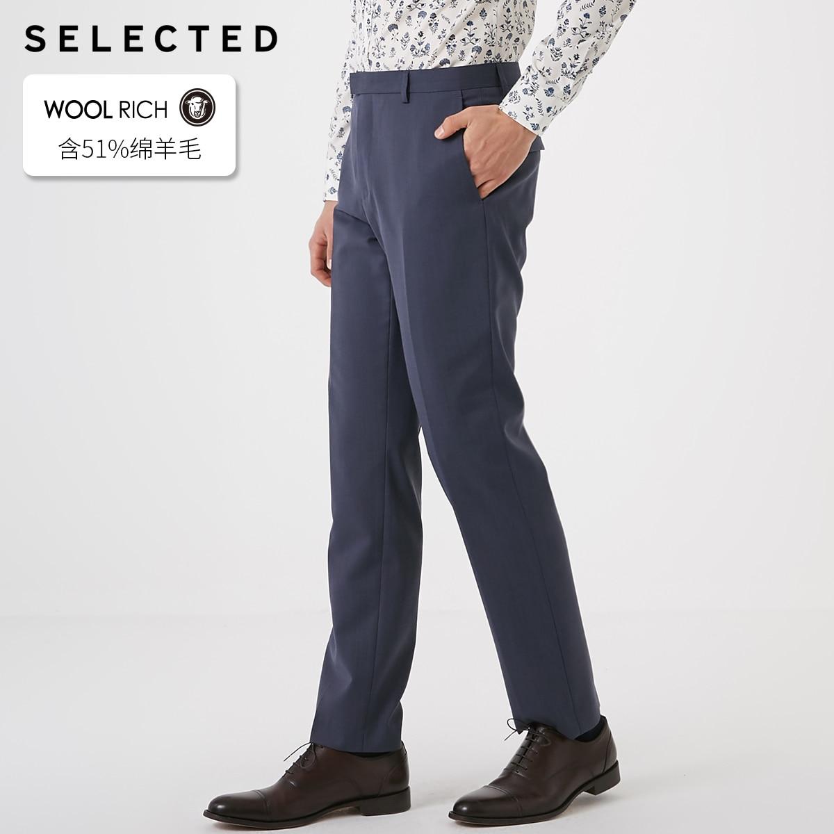 SELECTED Men's Pure Color Cotton Sheep Wool Regular Fit Suit Pants T|41916B510