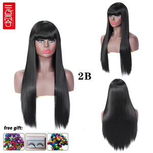Wigs Bangs Synthetic-Hair Heat-Resistant Orange Brown Grey Black Pink Straight Women