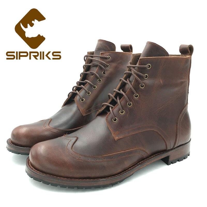 Sipriks mens stivali di pelle da cowboy classic vintage wingtip dress stivali rotonde della caviglia della punta di avvio goodyear welted scarpe 46 47