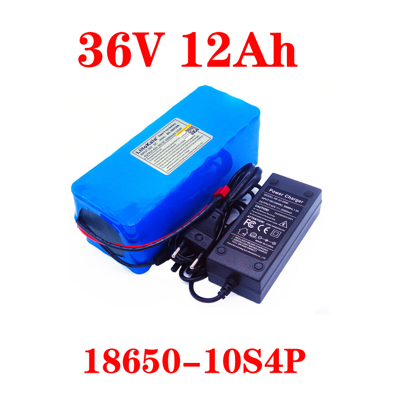 LiitoKala 36V 12AH 10ah 8ah 6Ah Electric Bike Battery Built In 20A BMS Lithium Battery Pack  With 42V 2A Charge Ebike Battery