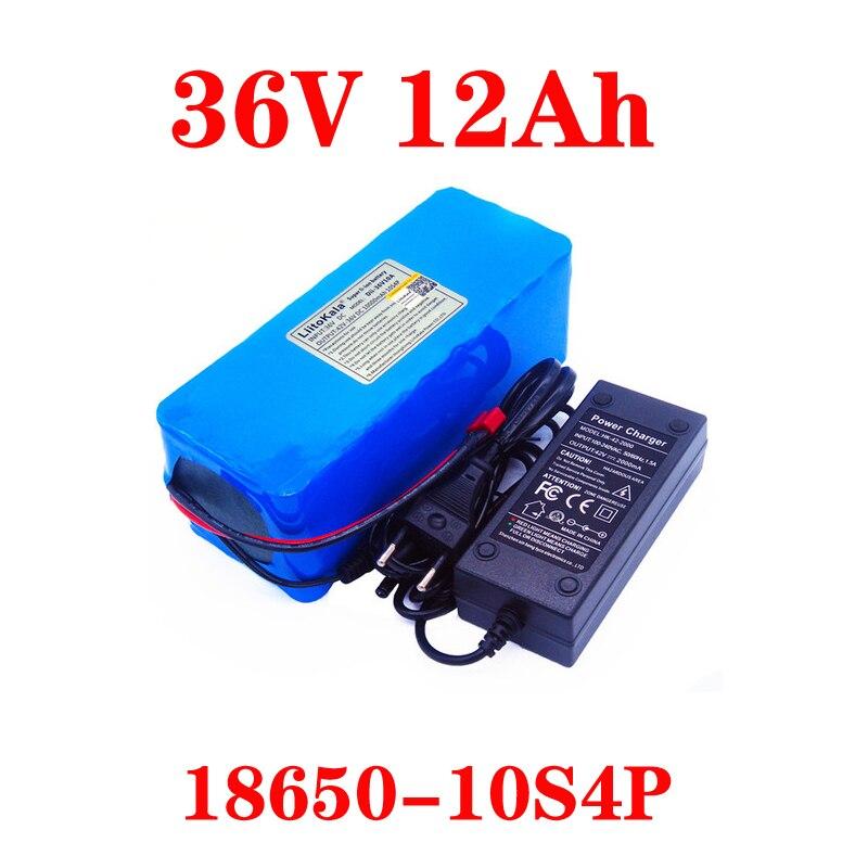 Liitokala 36V 12AH 10ah 8ah 6Ah Electric Bike Battery Dibangun Di 20A BMS Lithium Battery Pack dengan 42V 2A Biaya Ebike Baterai