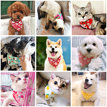 Cute Adjustable Small Dog Collars Puppy Pet Slobber Towel Outdoor Cat Collar Print Scarf Design Dog