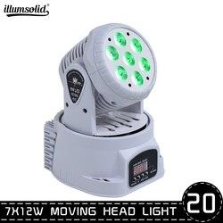 Darmowa wysyłka Mini LED umyć 7x12W 4in1 RGBW Quad z ruchomą głową oświetlenie DMX512 kontroler na imprezy pokaż dj ów zespół światła (20 w Oświetlenie sceniczne od Lampy i oświetlenie na