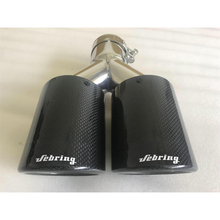 цена на sebring Carbon brazed double outlet muffler modified tail throat car stainless steel exhaust pipe universal modified tail pipe