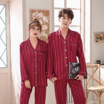 Couples Men&Women Satin Pajamas Set 2pcs Shirt&Pant Home Clothes Lovers Sleepwear Intimate Lingerie Pyjamas Suit 3XL фото