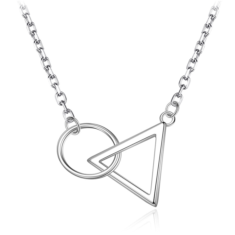 925 Sterling Silver Geometric Round Triangle Pendant Necklaces For Women Necklace Choker Fashion Jewelry joyas de plata 925 image