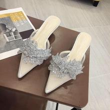 Boussac/Роскошные туфли на высоком каблуке со стразами; женские пикантные туфли с острым носком на каблуке «рюмочка»; элегантные женские туфли-лодочки с кружевом; SWB0208