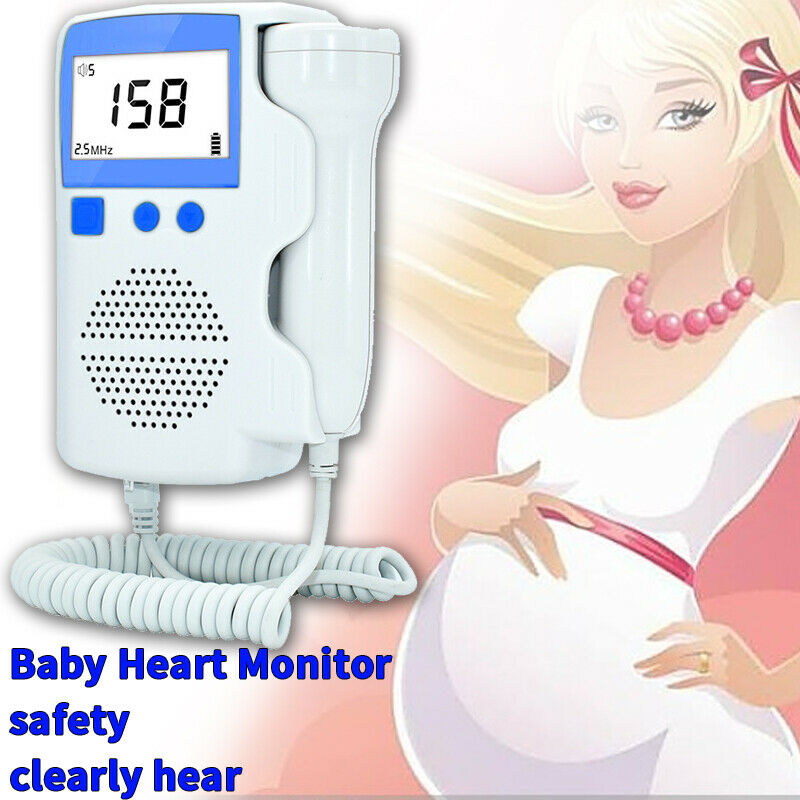 Heart Rate Monitor Pocket Fetal Doppler LCD Display Ultrasound Baby Monitor Prenatal Scan Probe Heartbeat Sound Detector for Pre(China)
