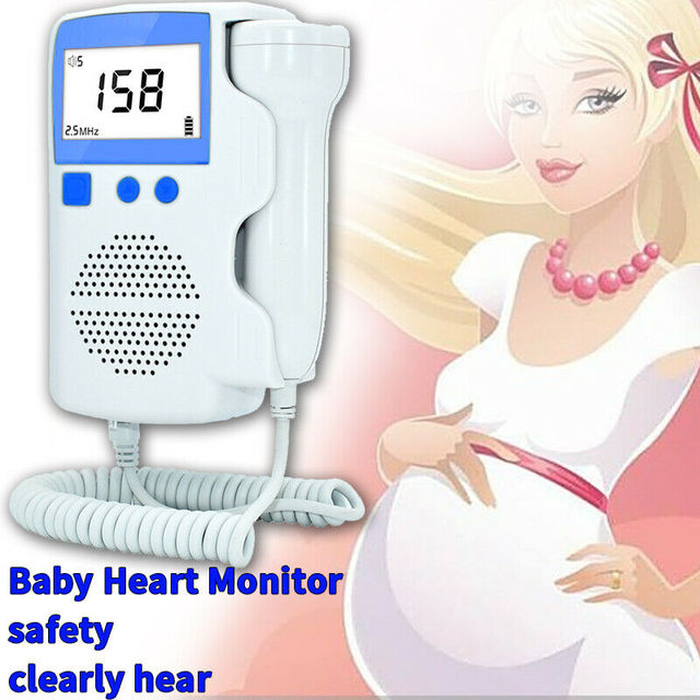 Heart Rate Monitor Pocket Fetal Doppler LCD Display Ultrasound Baby Monitor Prenatal Scan Probe Heartbeat Sound Detector for Pre