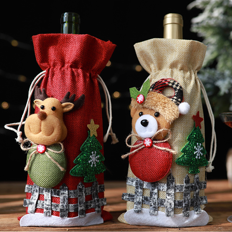 Merry Christmas Decorations for Home Santa Claus Wine Bottle Natal Noel Table Snowman Stocking Gift Xmas Navidad Happy New Year