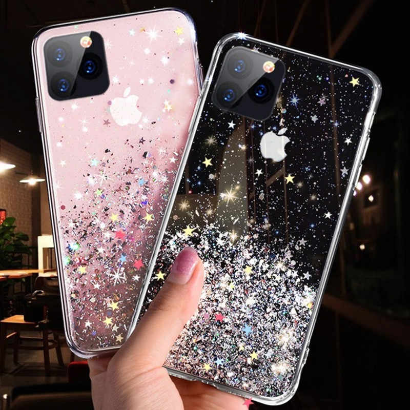 Mode Glitter Case voor iPhone X XR XS Max Silicone Bling Crystal Pailletten Cover voor iPhone 7 8 6 6S Plus 11 Pro Max Telefoon Gevallen