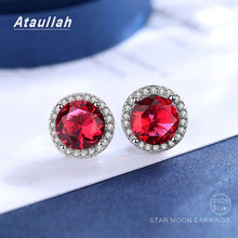 Ataullah Red Ruby Earrings 925 Silver Needle Tiny Round Stud Earring  Inlaid with Zircon Fine Jewelry for Women Gift EW046