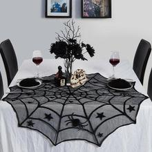 1pcs Halloween Black Spider Web Five-pointed Star Small Tablecloth Round Gray-black Atmosphere Theme Home Decoration