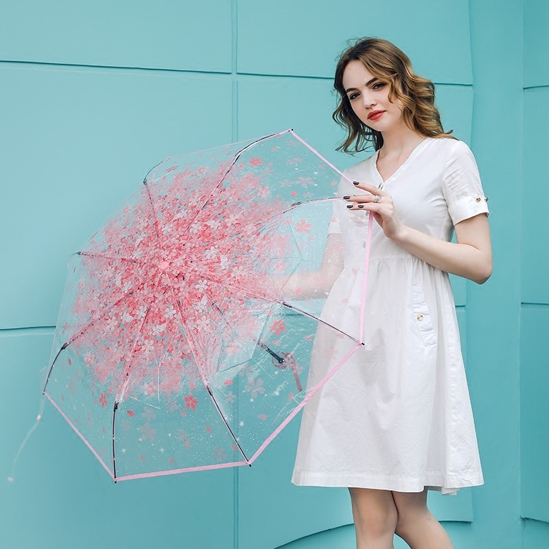 Fashion Cherry Blossom Transparent Umbrella Ladies Small Fresh Couple Portable Folding