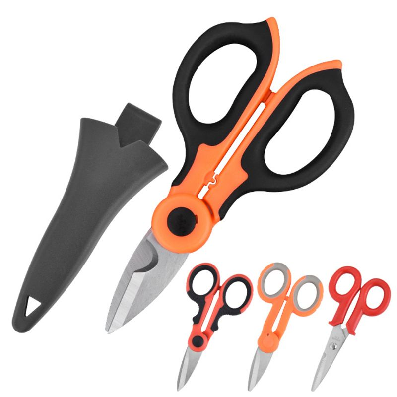2/1 High Carbon Steel Scissors Household Shears Tools Electrician Scissors Stripping Wire Cut Tools for Fabrics, Paper a