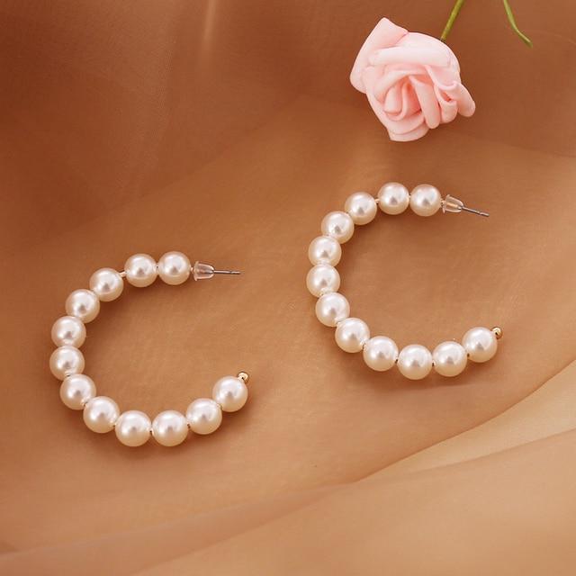 Pearl layered necklace or pearl hoop earrings 6