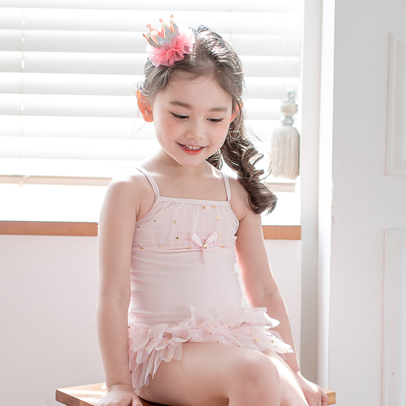 KID'S Swimwear One-piece GIRL'S Swimsuit Cute Pink Wing Mesh Dress Swimwear Baby Swim Bathing Suit