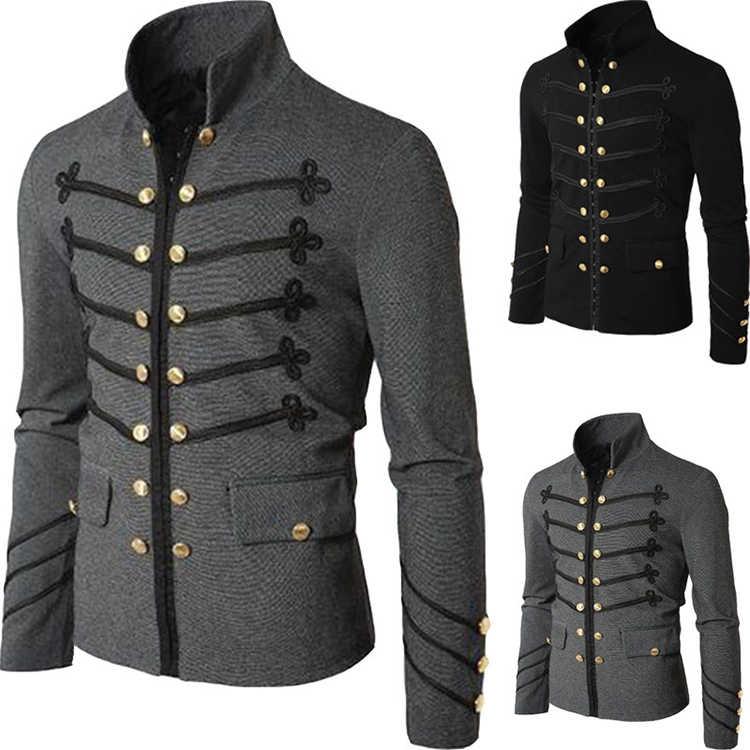 2019 Vintage Effen Mannen Gothic Jacket Steampunk Tuniek Rock Japon Uniform Mannelijke Vintage Punk Kostuum Metalen Militaire Jas Uitloper