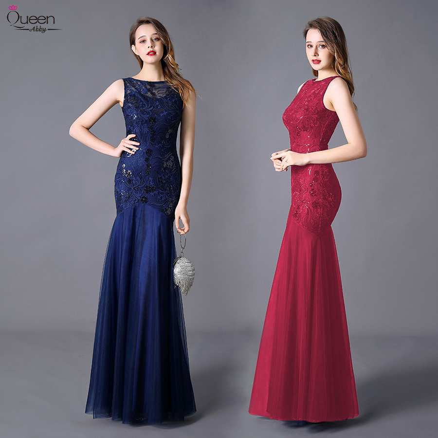 Plus Size Sequined Evening Dresses Queen Abby Mermaid O-Neck Elegant Women Lace Formal Party Gown Long Dresses Abendkleider 2020