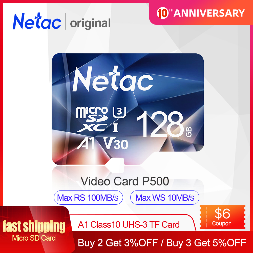 Netac Micro SD Card 512GB 256GB 64GB 32GB 16GB Memory Card Sd Card 128GB C10 UHS 1 U3 V30 P500 Flash Card Memory Microsd TF Card