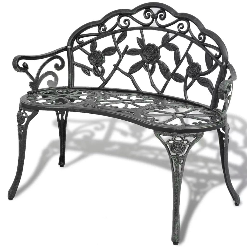 VidaXL Garden Bench 100 Cm Cast Aluminium Green Love Seat Cast Aluminum Leisure Chair Park Yard Bench Garden Seat