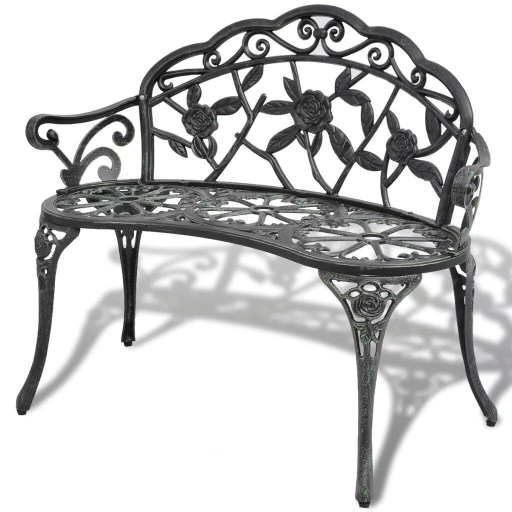 VidaXL Garden Bench 100 Cm Cast Aluminium Green Love Seat Cast Aluminum Leisure Chair Park Yard Bench Garden Seat V3
