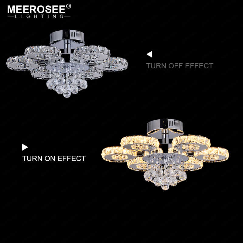 Luminarias de círculo redondo de lámpara LED de techo de Cristal moderno, accesorio de luz decorativa de hogar para centro comercial, Lustres de Cristal