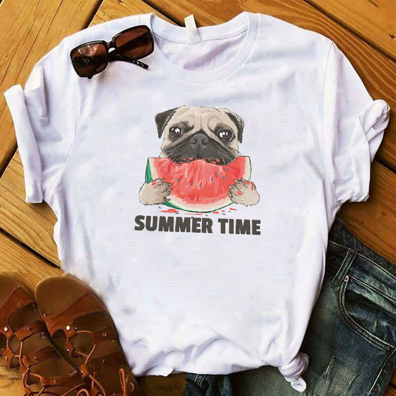 T Womens Watermelon Dog <font><b>Pug</b></font> Summer Time Cartoon Graphic Top <font><b>Tshirt</b></font> Female Tee Shirt Femme Ladies Clothes T-shirt Drop Shipping image