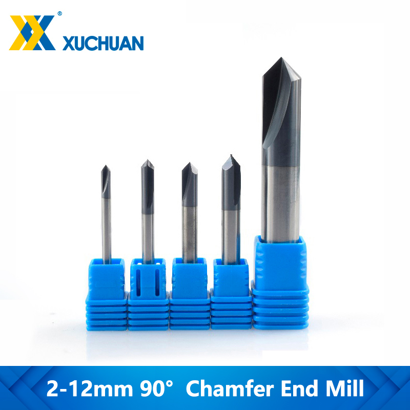 8x60L Chamfering End Mill 90 Degree 2 Flute Chamfer End Mill Slot Router Bit Blue Coating Tungsten Steel Cemented Carbide Router Bit for Machine Tools and Chamfering