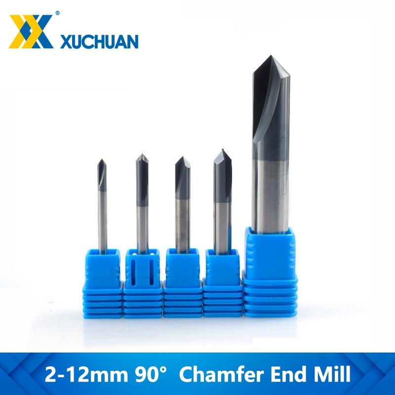 Chamfer End Mills CNC Machine Router Bit 2-12mm 90 Degree 2 Flute Milling Cutter