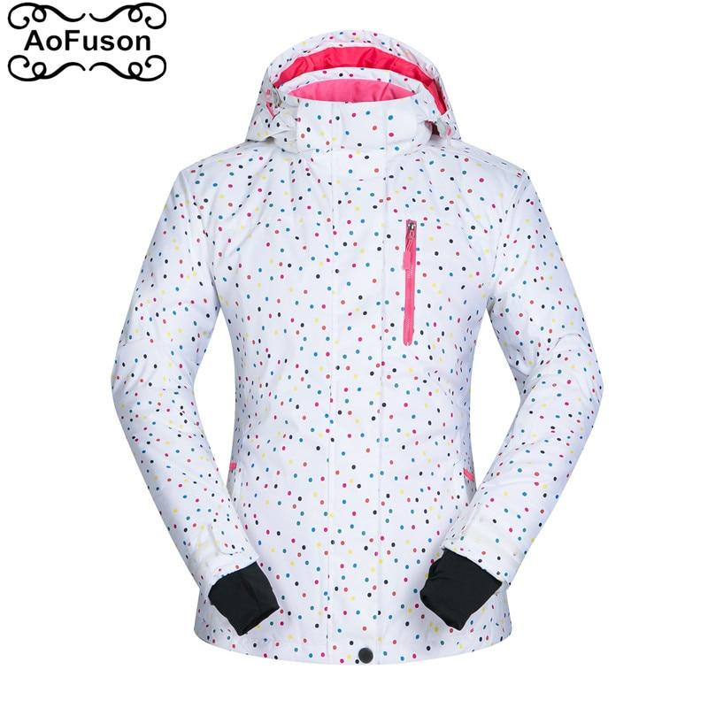Veste de Ski femme chaude hiver coupe-vent imperméable vêtements chauds manteau de neige randonnée Ski & snowboard Dot imprimé manteau veste
