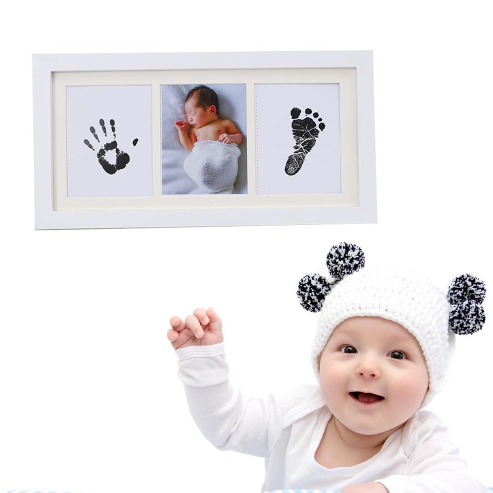 1pcs White Wooden Newborn Baby Hand Foot Inkpad Photo Frame Hand And Foot Print Souvenir