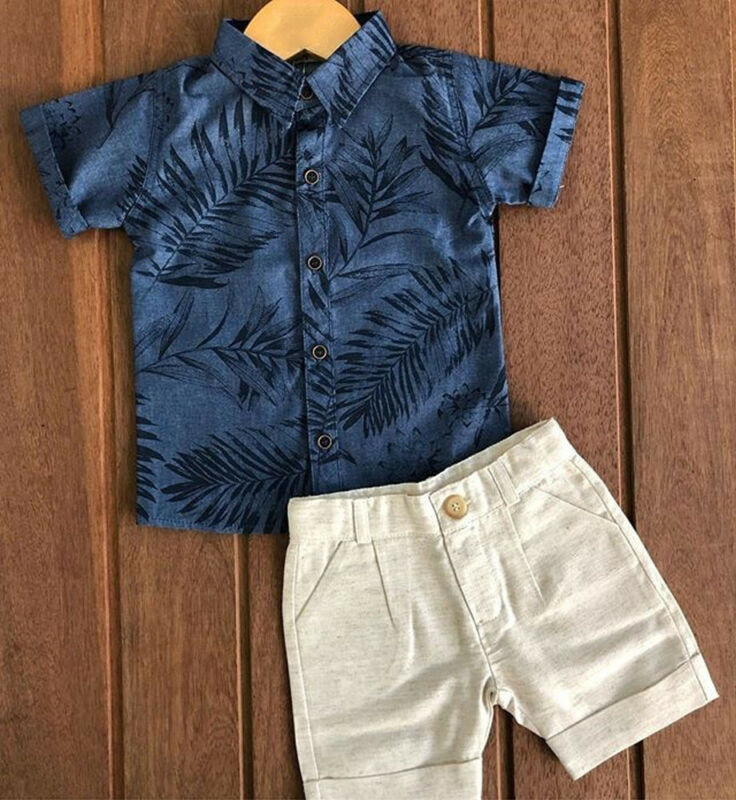 Baby Boy Two Pieces Clothes Set Shirt And Shorts Set For Toddler Kids Boy Summer Outfit Children Clothing
