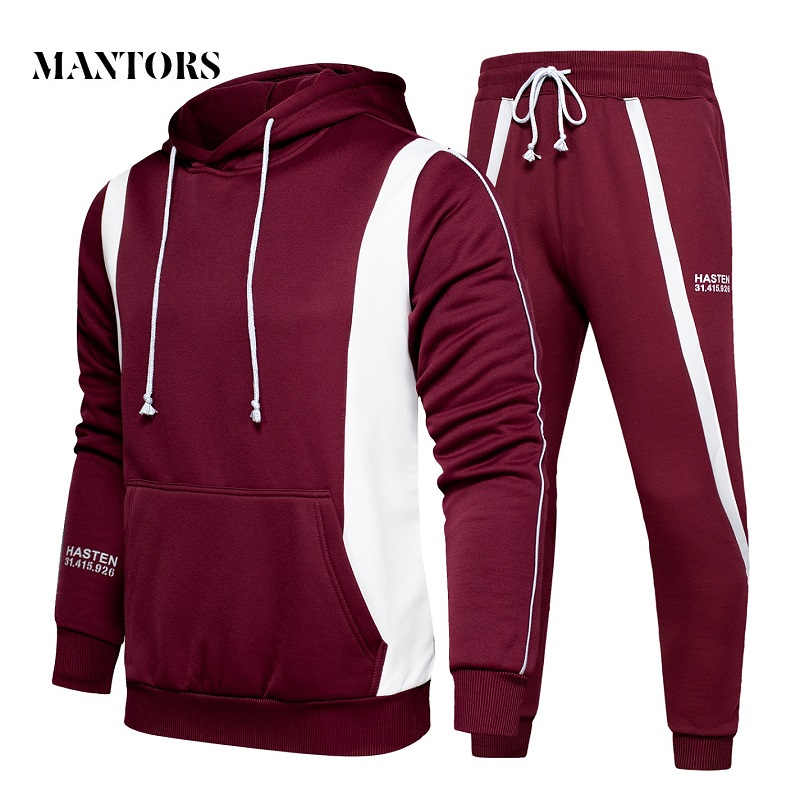 Men Casual Set Hooded 2019 New Splice Tracksuit Male Sweatshirts+Pants 2PC Sets Autumn Men's Sportswear Hoodies Sporting Suit