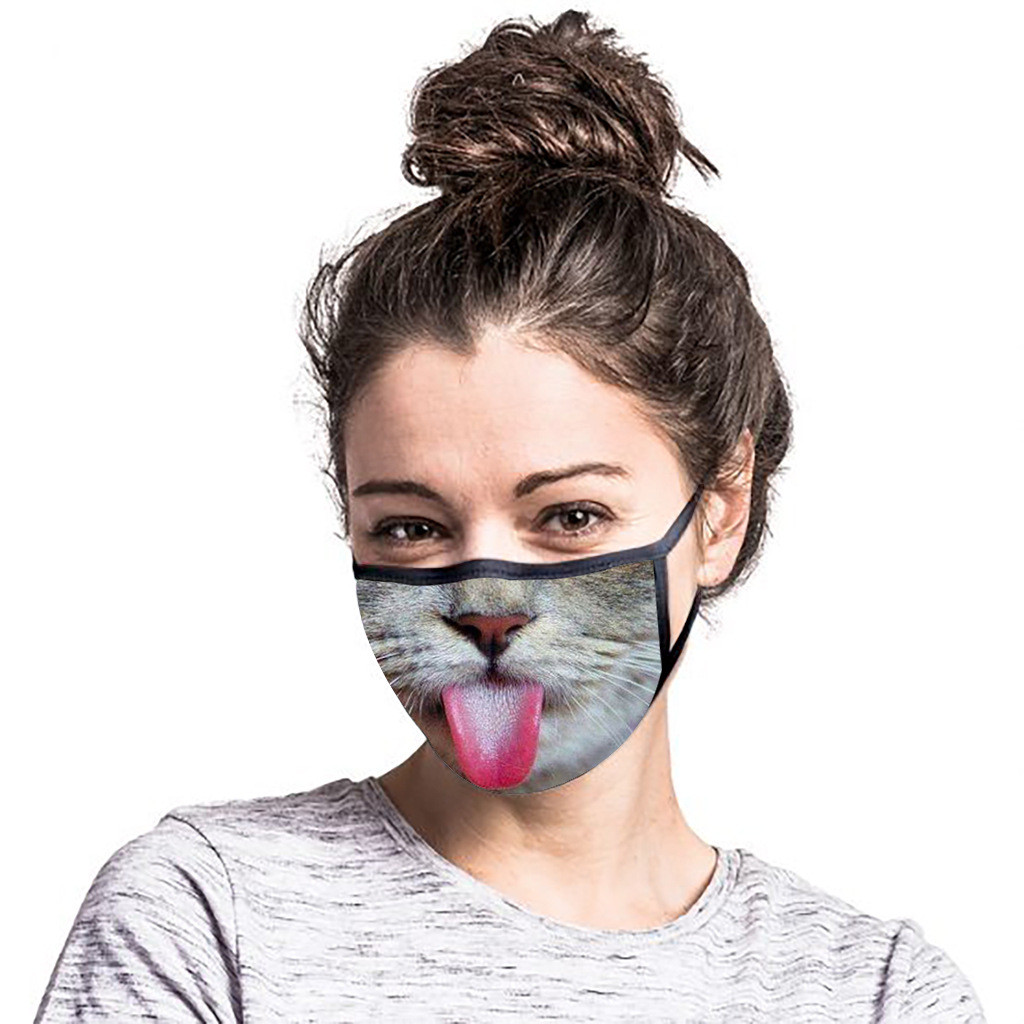 1pcs/set Funny Reusable Face Mouth Mask PM2.5 Filter Anti-Dust Fog Pollution Protective Cartoon Kid Adult Cat Mask Fashion