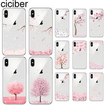 ciciber Cherry Blossom Tree Phone Cases For iphone 11 Pro XR XS MAX X Soft Cover For Iphone 7 8 6 6S Plus 5S SE 2020 Coque Funda ciciber dragon ball phone case for iphone 11 pro max xr x xs max tempered glass cover cases for iphone 7 8 6 6s plus funda coque