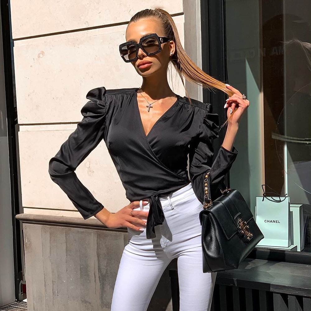 2019 summer women crop <font><b>top</b></font> shirts <font><b>tops</b></font> satin silk <font><b>bandage</b></font> elegant work office clothes <font><b>sexy</b></font> <font><b>festival</b></font> streetwear blouse image